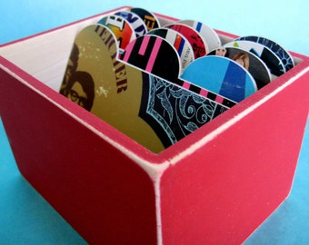 Happy Red File Box Made with Vintage Record Album Covers-4x6