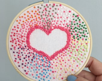 Hand Embroidered Hoop - French Knot Radiating Heart - 5.5 inch hoop