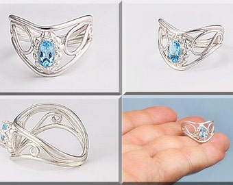 Topaz Silver Ring, BlueTopaz and Sterling Silver Ring, Filigree Topaz Ring, Faceted Topaz Ring, Swirl Topaz Ring, Fancy Blue Topaz Ring,
