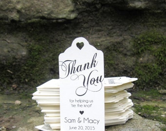 Tie the Knot - Wedding Favor Thank You Tags (50) - Personalized Thank You Tags-Perfect for Wedding or Party Favors