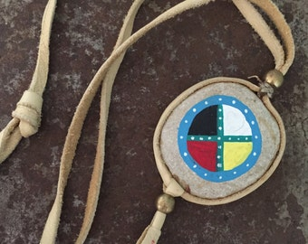 Hand Painted River Rock w/Leather Wrap & Brass Bead Tribal Medicine Wheel Stone Necklace, Ethnic Jewelry, Native American Indian Talisman -B