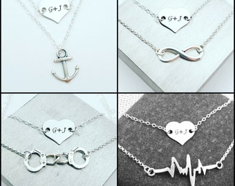 Layered Handstamped Heart Necklace, Anchor Necklace, Infinity Necklace, Handcuffs Necklace, Heartbeat Necklace, Layered Necklaces, Set of 2
