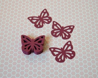 Butterflies paper, 25 pre-cut dark pink butterflies