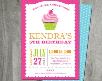 Cupcake Party Invitation, Personalized, Custom Colors, Party Printable, Printing Available, Birthday, Digital File, Double Sided