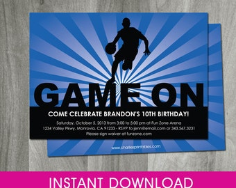 Basketball Invitation, Self Editable, 5x7,  INSTANT DOWNLOAD, Birthday Invitation, Sports Party Printable, Diy, Digital Pdf File, Boy, Blue
