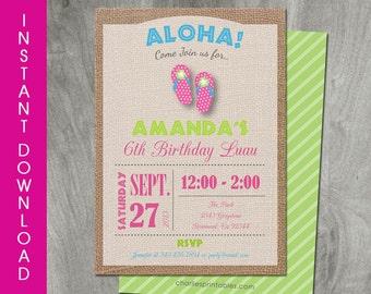 Luau Invitation, Hawaiian Party Printable, Self Editable, INSTANT DOWNLOAD, Personalized, Diy, Flip Flops, Digital Pdf File, Luau Birthday