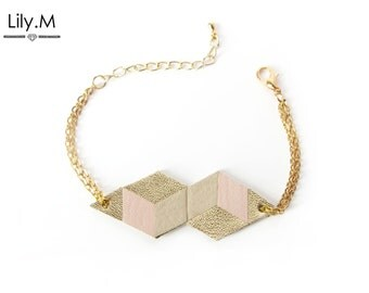 Bracelet, Geometric Leather, Powder pink and golden TARA Lily.M
