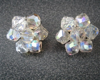 Vintage Translucent Bead Cluster Clip On Earrings
