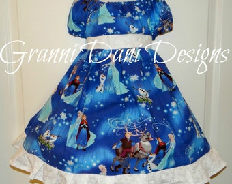 Disney Elsa frozen Olaf christmas holiday sven  twirl dress ruffle baby toddler girl 6 12 18 24 months 2t 3t 4t 5t 6 7 8 blue snowflake