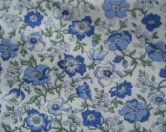 Feedsack Fabric from the 1930's 100% Vintage Feedsack Feed Sack  Blue Flower Print