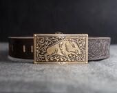 """Men's Viking Embossed Leather Belt with Pocket """"Boar""""; Medieval Belt;"""