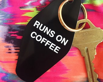 Runs On Coffee Keychain | Vintage Hotel Keychain Purse Charm Accessories-Planner Accessories-Flawless