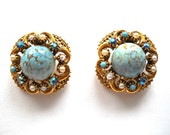 RESERVED :  FLORENZA Vintage Earrings Turquoise Cabochons, Faux Pearls & AB Rhinestones