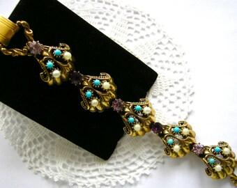 Fabulous FLORENZA Ornamented Chunky Links Vintage Bracelet  c1960 Purple Rhinestones. Pearl & Turquoise Cabs