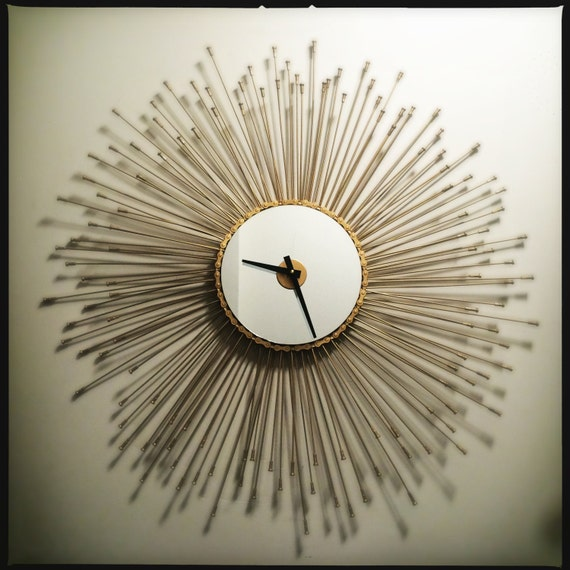 Sunburst Bicycle Spoke Mirrored Wall Clock By Dreamgreatdreams