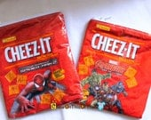 Spiderman and Avengers Cheeze-It Baked Cheese Snack Crackers Upcycled Change Purse Recycled Snack Wrapper Coin Pouch, Wallet, Zipper