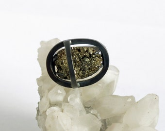 Statement Artisan Portal oxidised raw crystal Pyrite silver ring - Limited edition