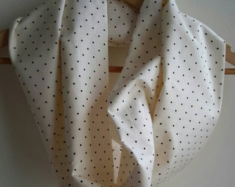 Dotty Cream Cotton Infinity Scarf. Wide