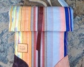 Bike bag Mermaid, WATERPROOF  upcycled industrial canvas rolltop shoulder bag. Rainbow striped.