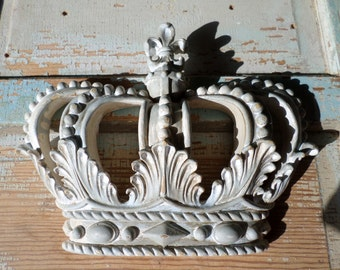 Shabby Chic Princess Crown French Blue / White Chippy Vintage Finish * NEW * do it yourself Chic!