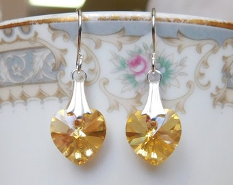 Gold Heart Earrings , Swarovski Earrings , Swarovski Heart Earrings , Yellow Heart Earrings