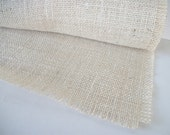 2 Foot White Burlap Table Runner Custom Ivory