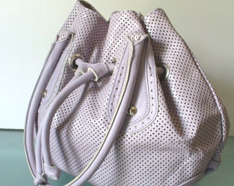 Innue Lilac Perforated Leather Feedbag Made in Italy