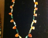 32 Inch Carnilian Trade Bead Necklace with Assorted Agate and Carnelian Beads