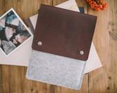 """iPad Air 2 Case, iPad Air 2 Sleeve, iPad Air Case, iPad Air Sleeve, leather, felt, """"Courier"""""""