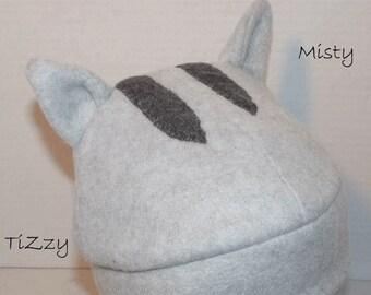Gray Tabby Kitty Fleece Hat - Misty & Pickles - Neko Atsume Inspired