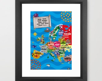 Europe & Beyond Print - Multilingual Map