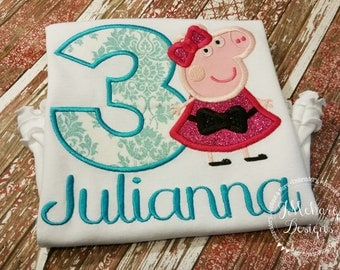 Peppa Pig Birthday  - Embroidered Birthday Shirt - Customizable -  Infant to Youth 331