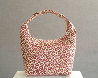 Lunch Bag Insulated, Women Lunch Bag, Women Small Purse,Fabric Lunch Bag, Eco Friendly Lunch Tote-Pink Brown Cheetah Print Robert Kauffman