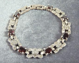 Sterling Silver Garnet Marcasite Bracelet B13