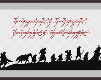 Lord Of The Rings Silhouette cross stitch pattern Instant Download PDF