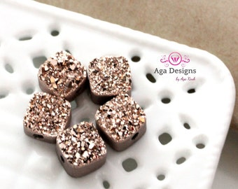 Square Druzy Stones with Hole Rose Gold color