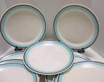 Vintage Franciscan Earthenware Malibu Pattern - Off White Speckled Brown Blue Aqua Bands - Dinner Plates Set of 4 (2 Sets Available)