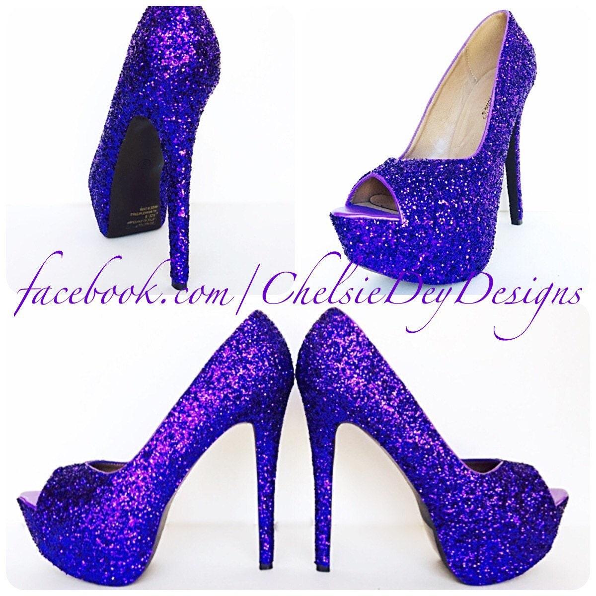 Purple Glitter High Heels - Royal Purple Peep Toe Pumps - Open Toe ...