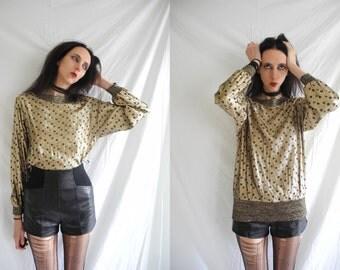 80's rocker gold and black metallic polka dot/spot jumper style long sleeve top