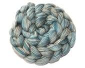 Blended tops - 21 micron Merino-Tussah silk-Flax-100g/3.5 oz Duck egg blue -BREEZE
