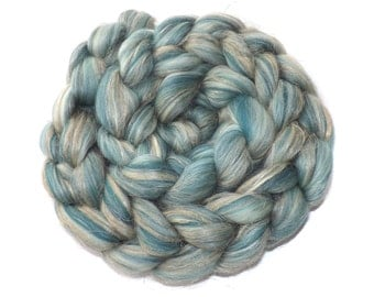 Blended roving - 21 micron Merino-Tussah silk-Flax-100g/3.5 oz Duck egg blue -BREEZE