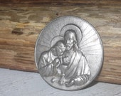 RESERVED for A Vintage Jesus Embossed Religious Plaque, Gothic, Jewellery, Mixed Media,  Art  Projects,  Supplies,  Findings
