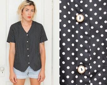 Polka Top Blouse // V Neck Top // 1980s Loose Fit Black White Polka Dots Pattern Shirt Size Medium