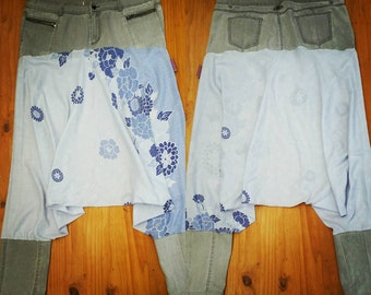 Bohemian pants/ harem pants/ gypsy/ beach/ festival/ hippie clothing/ upcycled fashion/ floaty/ floral/ Size 20.