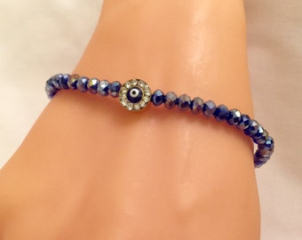 Evil Eye Bead Bracelet,Gold Plated,Evil Eye Crystal Bracelet ,Gold Charm,Stylish Jewelry,Casual Jewelry,Blue Bracelets