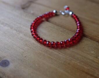 baby bracelet - girl bracelet - baby jewelry  - red baby jewelry- girl gift- toddler jewelry- newborn bracelet- infant bracelet
