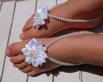 Baby barefoot sandals , baby girl, baby shoes ,baby jewelry ,baptism ,christening gift, baby shower gift , white baby barefoot sandals