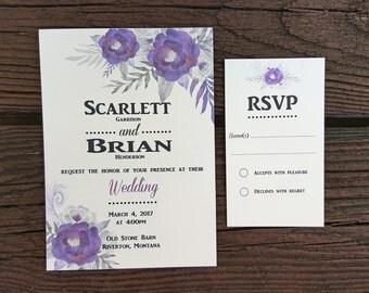 Purple Watercolor Flower Wedding Invitation -Fancy/Traditional Flower Wedding Cards - Vintage