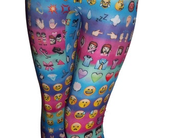 Emoji Leggings on Colorful Background, Printed Leggings, Yoga Pants, Running Pants, Exercise Pants