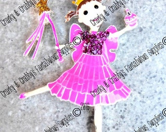Pink Delicious Fairy - Princess  - 55mm x 38mm - Colored enamel on silver metal with rhinestones